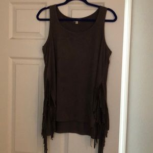 Light suede chocolate fringed tank top